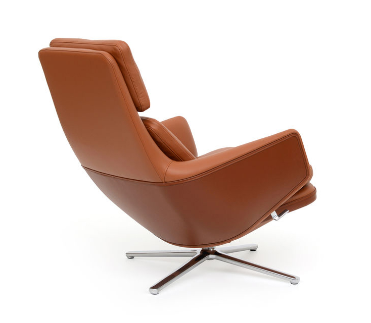 Tremendous Vitra Swivel Lounge Chair Grand Relax Ottoman H 432 Mm Leather Premium Glossy Aluminium Base Gamerscity Chair Design For Home Gamerscityorg