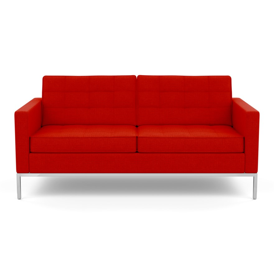 KNOLL sofa with 2 seaters FLORENCE in fabric (Cato Fire Red - Fabric cover  Cat. B and chromed-plated steel structure)