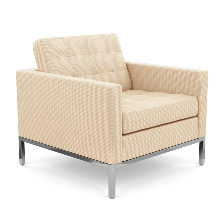 KNOLL fauteuil FLORENCE en tissu (Cato Ivory - Revêtement en tissu Cat. B et structure en acier chro