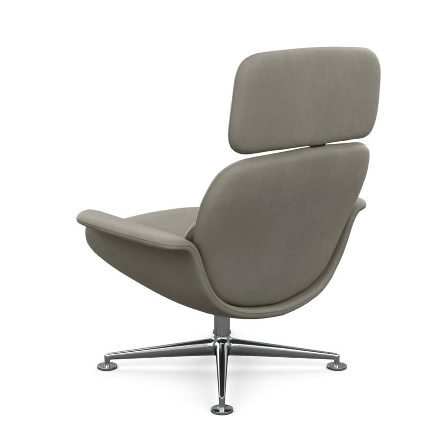 KNOLL fauteuil pivotant KN02 en tissu avec dossier haut inclinable (Ultrasuede Mink Revêtement Cat. A et structure en aluminium poli)