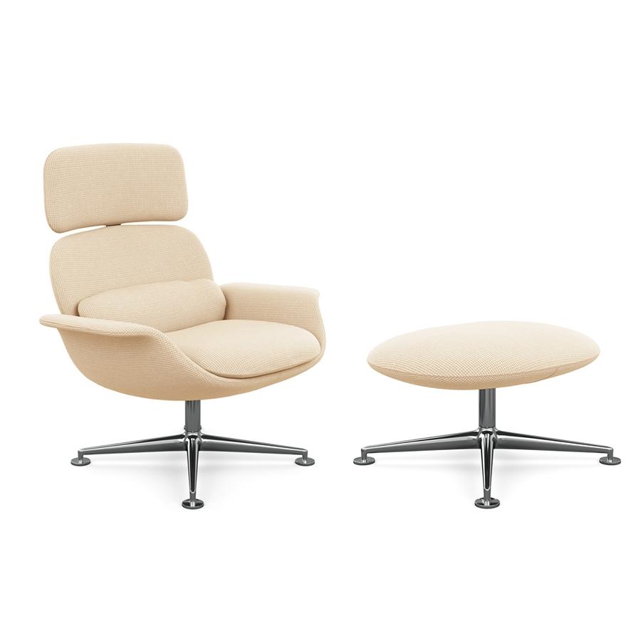 KNOLL fauteuil pivotant KN02 avec ottoman KN03 en tissu avec dossier haut inclinable (Cato Ivory - Revêtement Cat. B et structure en aluminium poli)