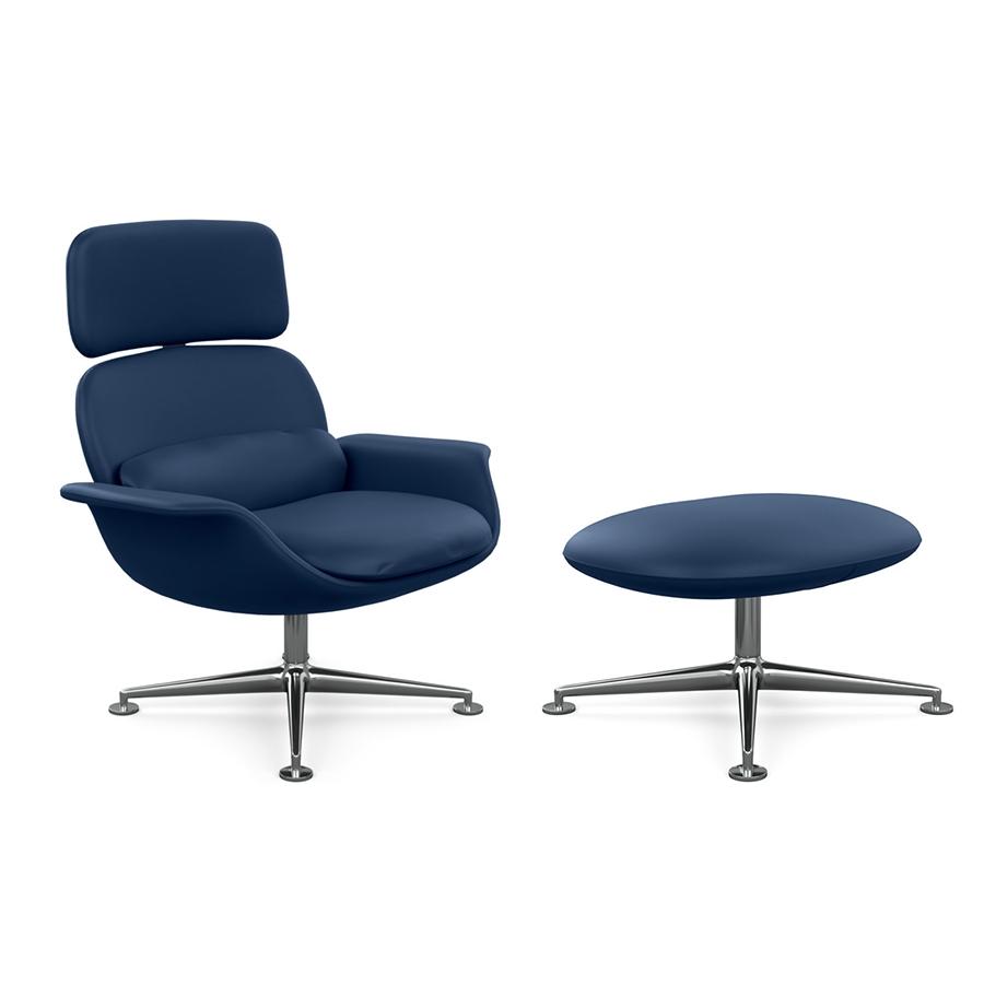 KNOLL fauteuil pivotant KN02 avec ottoman KN03 en cuir avec dossier haut inclinable (Acqua Cote d'Azur - Revêtement Cat. Y et structure en aluminium poli)