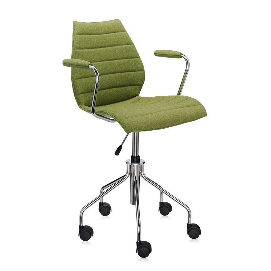 KARTELL chaise à roulettes avec accoudoirs MAUI SOFT TREVIRA (Vert acide - Tissu Trevira / Structure en acier chromé)